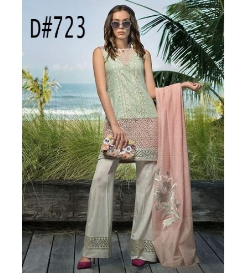 Fully Front  Embroidered Lawn Suit  With Chiffon Doppata