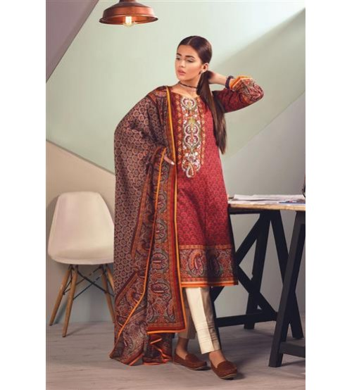 Lawn With Cotton Net  Dupatta Front Fully Embroidered