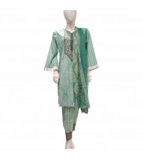 Embroidered Neck Stitched Lawn Suit For Women