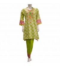 Green Stitched Lawn  Suit Neck Embroidered