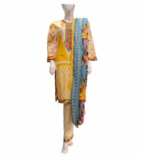 Lawn 3 PCS Stitched Suit Neck Embroidered
