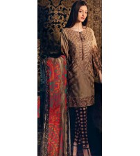 Brown Lawn Suit With Printed Trousar