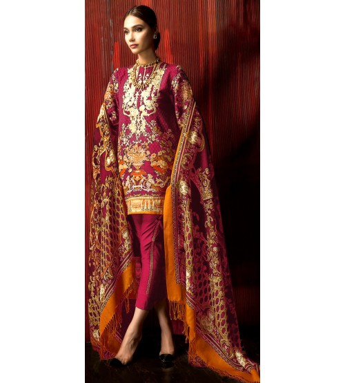 Lawn Suit with Nick embroidered Unstiched