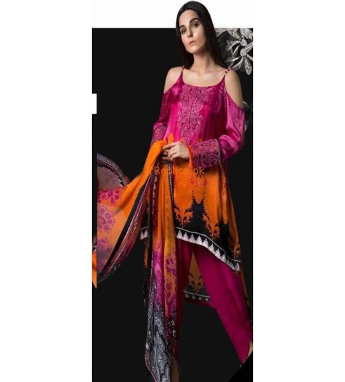 Dark Pink Lawn Suit With Chiffon Dupatta