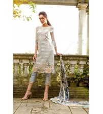 Grey Lawn embroidered Suit with Brosha Dupatta
