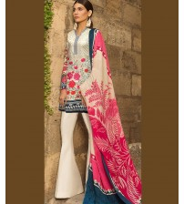 Skin Color Lawn Embroidered Suit with Plain Trouser