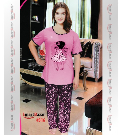 Women's Lounge wear T-Shirt And Pajama Set