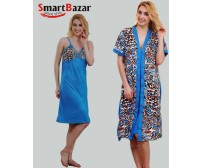 Couple Of Long Robe And Nightie in Stylish Wear