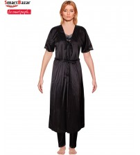 Satin Long Robe Nightie Set In Black 2 Pcs