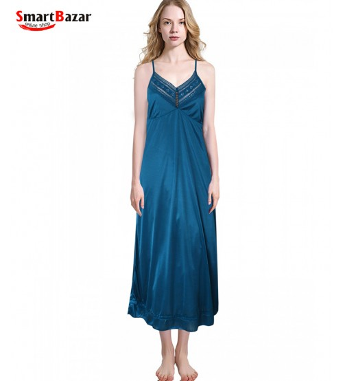 Satin Nightwear Set In Deep Sky Blue - Long Robe & Nightie 2 Pcs