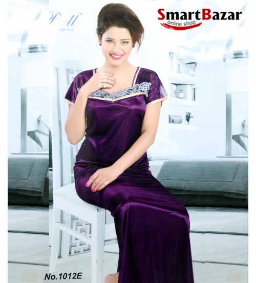 ... VL Satin   Frount Lace Design Silk Nighty With Stylish Back - Long Robe  ... 996bf9822