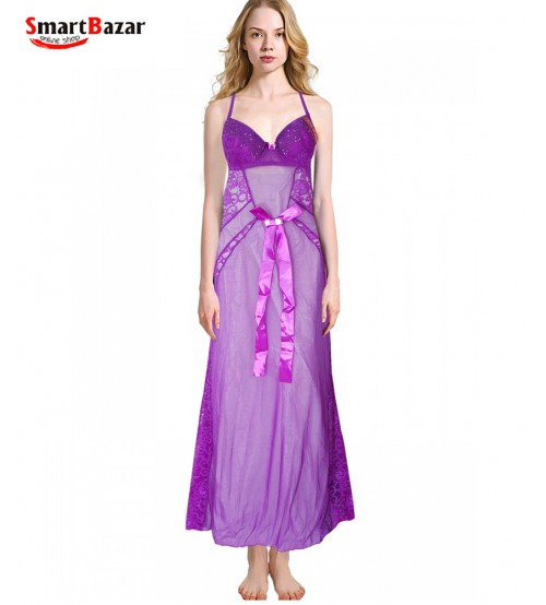 Purpal Satin Nightwear with Stylish Back