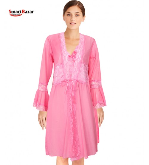 Satin Nightwear With Robe 2 PCS