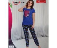 Blue T-SHIRT With Floral Tights 1824