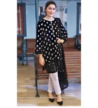 Black Emboriderd Linen Suit With Plan Trousar