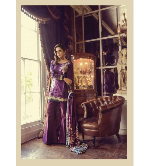 Purple Khaddar Suit with Plain trouser