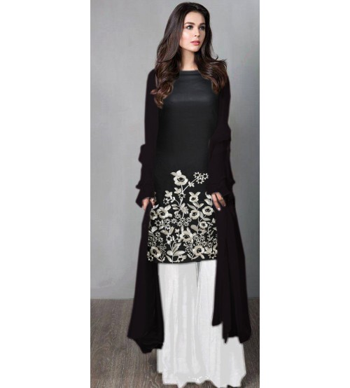 Linen Black Suit With Embroiderd Daman 2pc