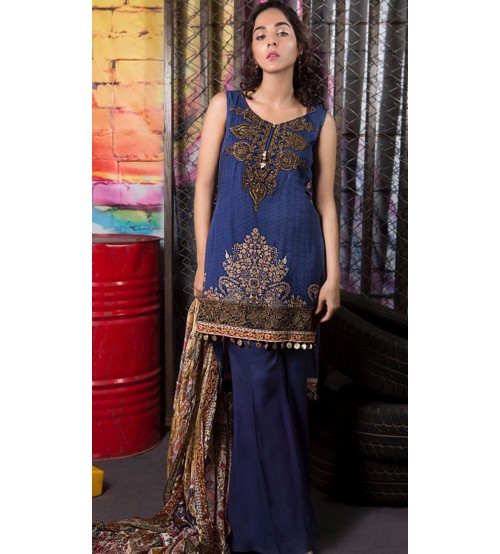 Blue Khaddar Collection Unstitched Suit For Women
