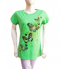 Green Printed Round Neck T-Shirts