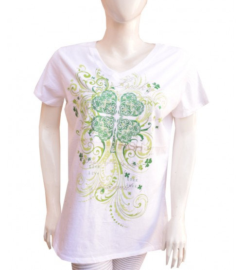 White V Neck Short Sleeve Tee Shirt for Women