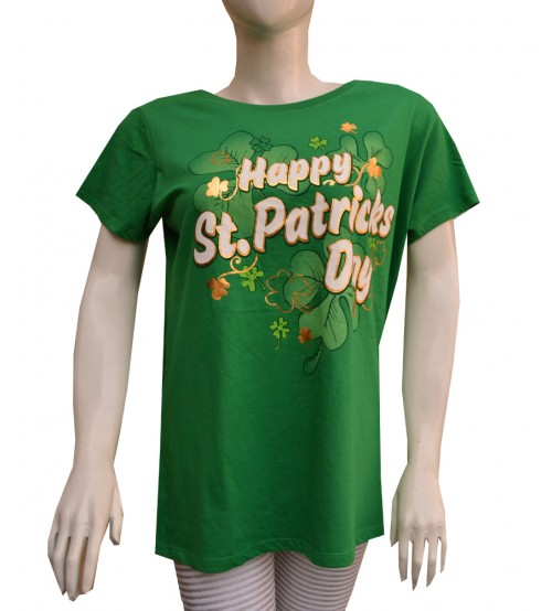 Green Printed Crew Neck Short Sleeve T-Shirts