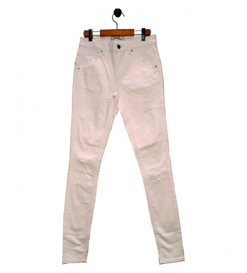 White Ripped  Slim Fit Jeans For Women