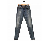 Ladies Navy Blue Faded Jeans