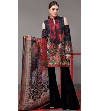 Black Floral Printed Khaddar Suit Winter Collection