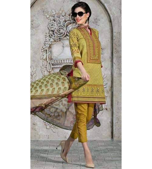 GM Twil Embroidered Dress With Wool Shawl (GM-265 A)