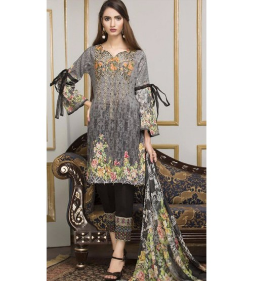 Embroidered Twill Suit With Plain Trouser