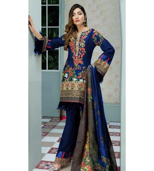New Collection Beautiful  Embroidered Viscose Suit With Bamber Dupta