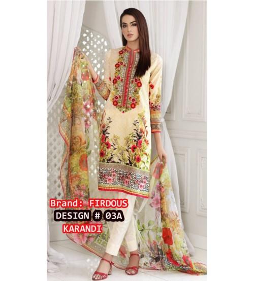 Skin Color Firdous Design in Karandi with Karandi Dupata Gala Emb