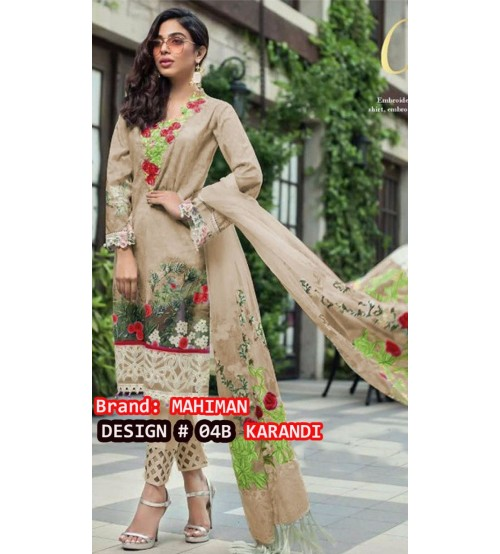 Karandi Suit With Karandi Dupta Embroidered Daman