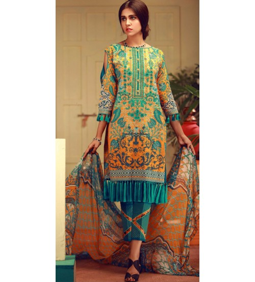 Skin and Green Khaddar Suit with plain Trouser