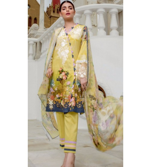Beautiful Yellow Color Khaddar embroidered Suit