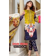 Mustard and Blue Khaddar Embroidered Suit With Plain Trouser and Wool Shawl