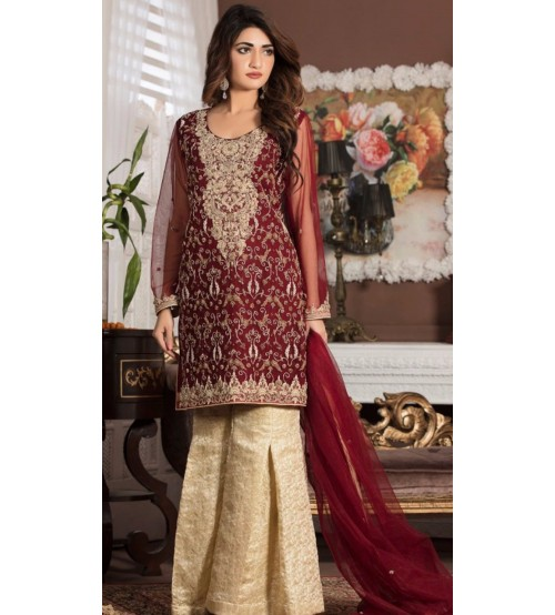Khaddar Suit With Wool Shawl Gala Emb
