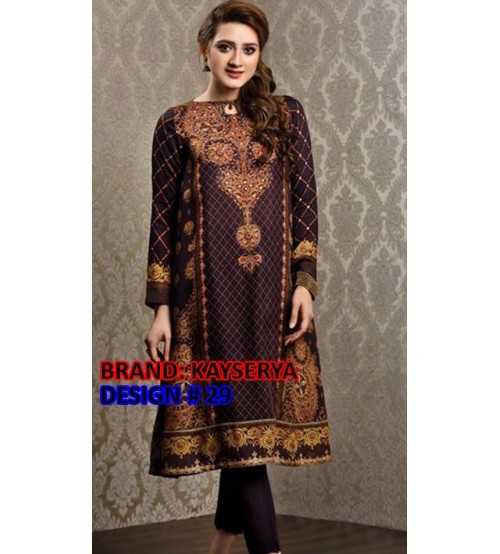 Stylish Embroidered Khaddar Suit With Wool Shawl