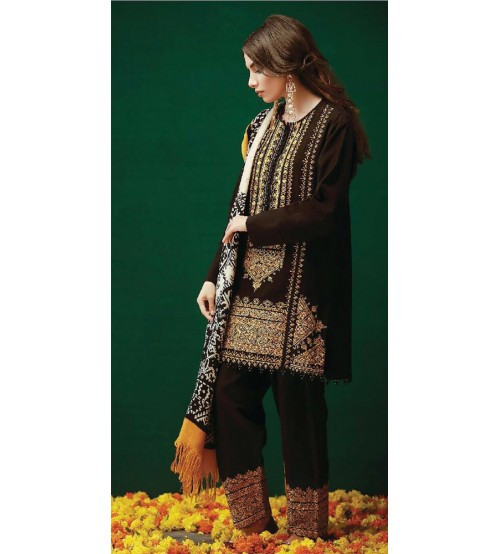 New Embroidered Khaddar suit With wool shawl