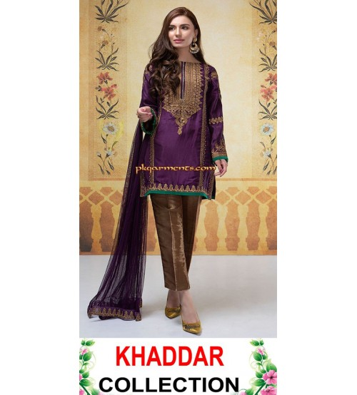 Khaddar with Wool Shawl Patch Embroidered