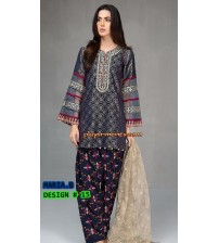 Grey & Black  Beautiful Embroidered Khaddar Suit Winter Collection