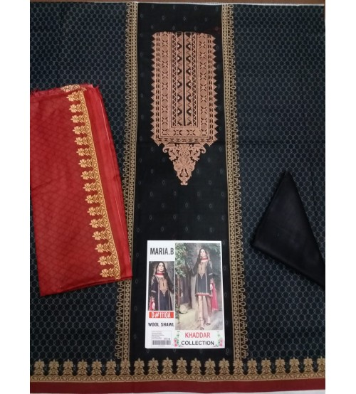 Khaddar Suit With Embroidered Daman Gala