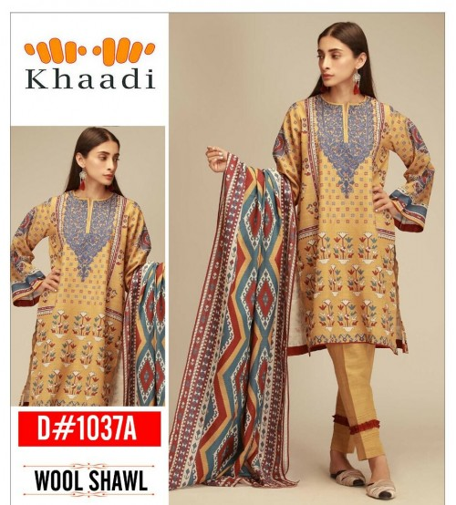 Khaddi Linen Suit With Wool Shawl