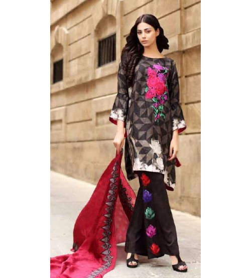 Charizma Embroidery Suit with wool shawl.
