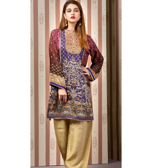 Kayseria  Stylish Embroidery Linen Suit with wool shawl.