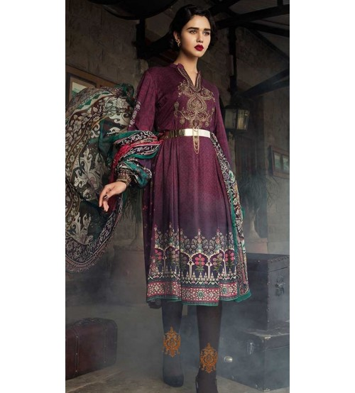 Linen Suit With Embroidered Daman Gala Bazo