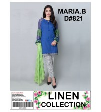 Embroidered Linen Suit With Bamber Dupata