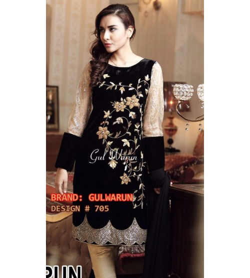 02 Piece Black Embroidered Suit