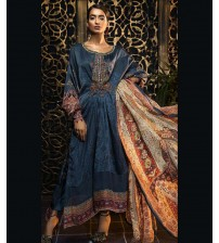 Latest Blue Embroidered Linen Unstitched 3 Piece Suit