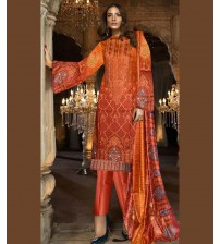 Light Orange Linen Embroidered Suit WITH WOOL SHAWL
